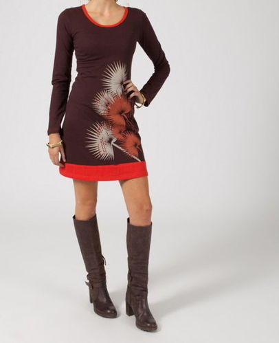 "(▶) Robe tunique ethnique chocolat ""marina"""