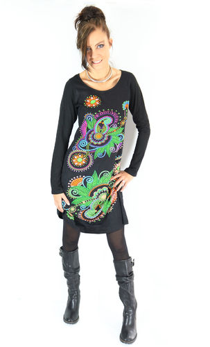 "Robe ""AngeL-ik"" ETHNICS ORIGINS ® multicolor noir manche longue"