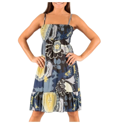 Robe Imprime Style Ethnique Noir Bleu Beige Mode Femme