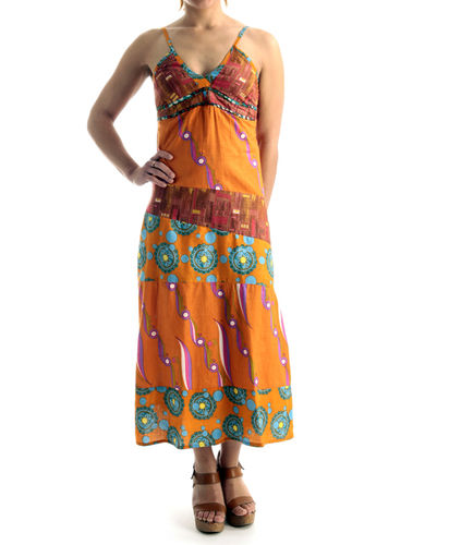 "Robe ""floraa"" ETHNICS ORIGINS ® tons orange  fleuris V.2 PRIX VIP 11€"
