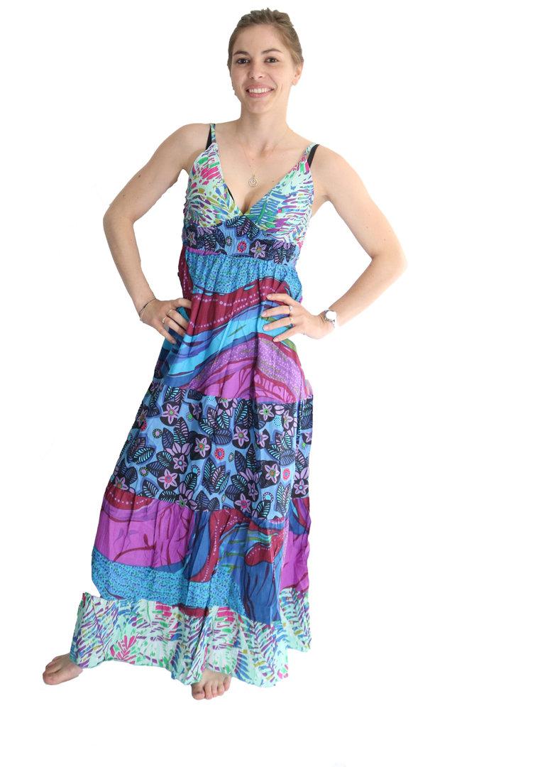 robe longue ethnique enger bleu multicolor t u. Black Bedroom Furniture Sets. Home Design Ideas