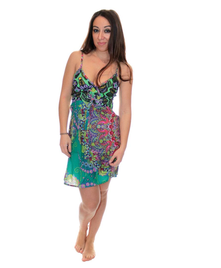 robe ethnique imprim abby vert multicolor. Black Bedroom Furniture Sets. Home Design Ideas