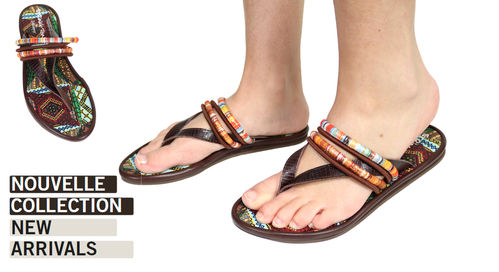 "Sandales ethniques ""String tong boheme insole gypsy""  multicolor"
