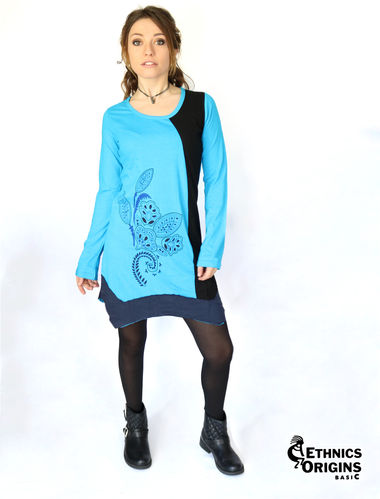 "Robe ethnique destructuree ""Côme"" bleu ETHNICS ORIGINS Basic ®"