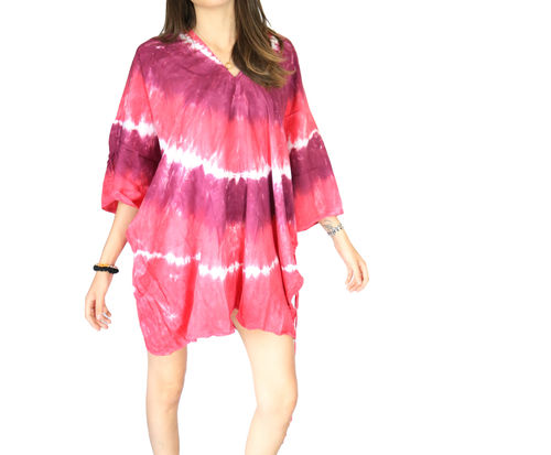 Tunique Viscose Imprime Tie Dye tons rose mauve fushia