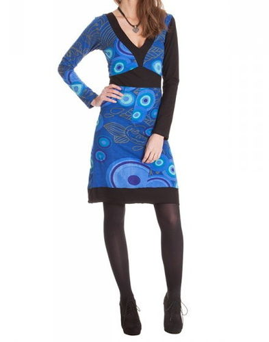 "Straight print dress with long sleeves, V neck ""kannya"""