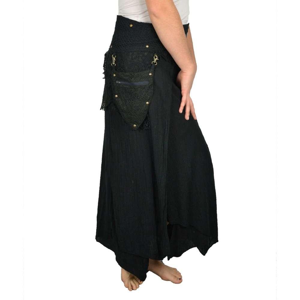 Jupe longue ethnique style Elfique déstructurée - noir 49c9798f5623