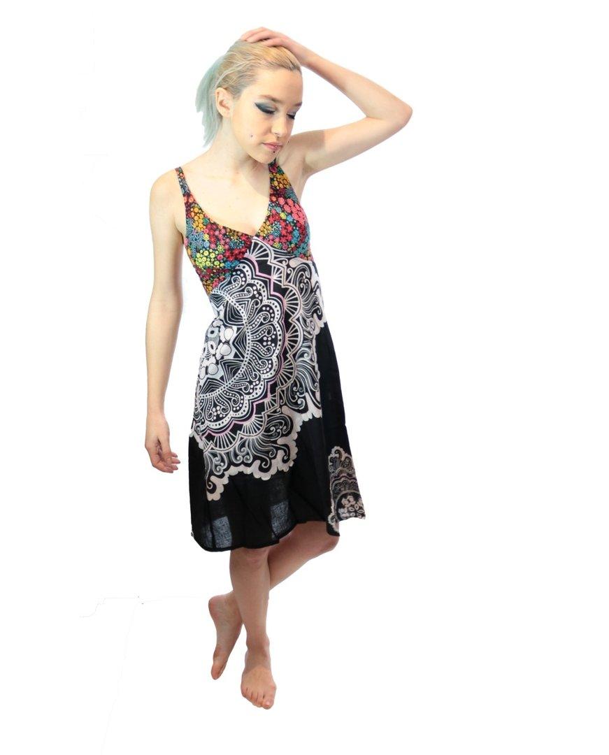 robe ethnique imprim caro noir multicolor. Black Bedroom Furniture Sets. Home Design Ideas