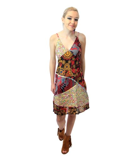 Robe ethnique patchwork multicolore floral