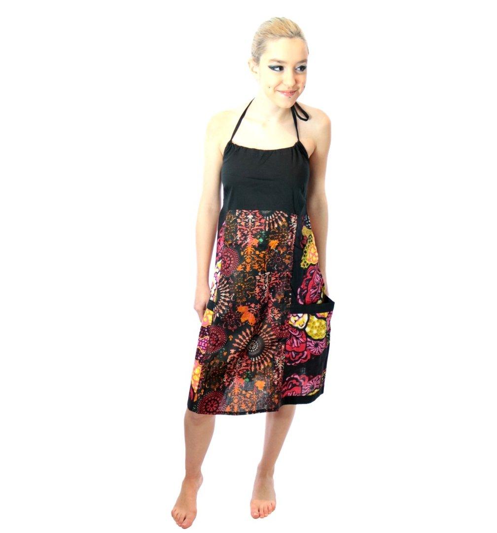 robe ethnique imprim harsha rouge noir. Black Bedroom Furniture Sets. Home Design Ideas