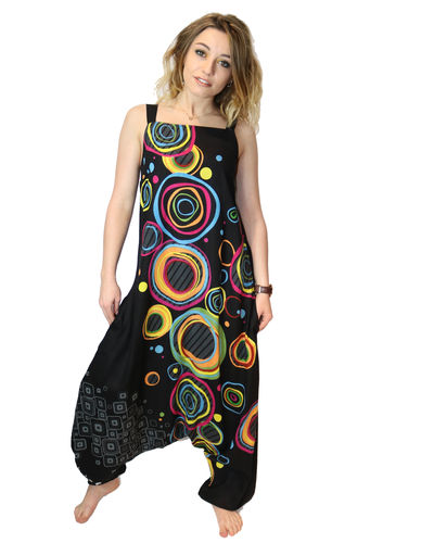 "Salopette Ethnics Origins ""color cercles"" noir multicolor"