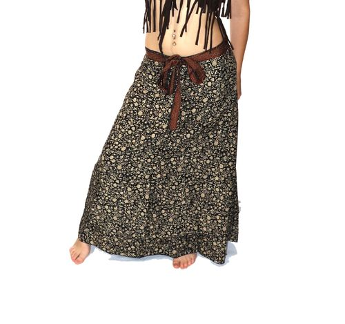 "Ethnic skirt printed straight ""wallet"" black brown T.U"