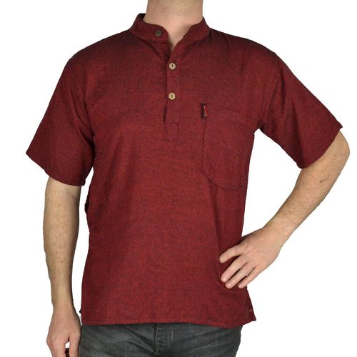 SHIRT UNI SHORT SLEEVE - gray-rouge bordeaux