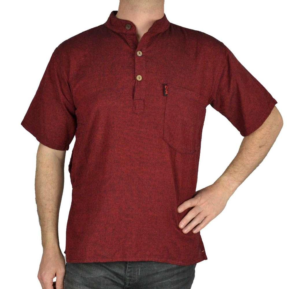 Sleeve Gray Rouge Short Bordeaux Shirt Uni OiXZPku