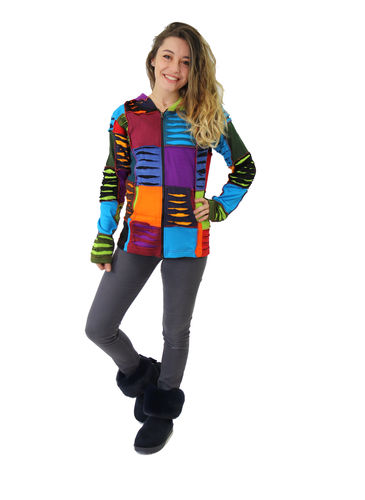 Veste ethnique patchword multicolor