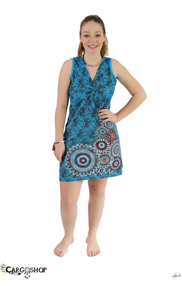 de4b5900b83 Robe courte bleu turquoise motif alvéole