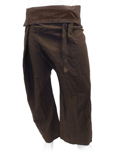 Pantalon yoga thaï marron avec pochette de transport
